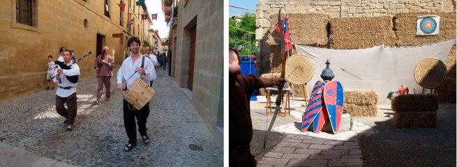 Gaiteros desfilando y Arqueros demostrando su destreza con el arco